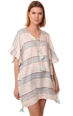 VINTAGE HAVANA DRESSES LACE UP STRIPED RUFFLE SLEEVE TASSEL BEACH COVER UP