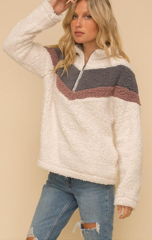 CHEVRON SHERPA TOP HEM AND THREAD WARM AND COZY FALL TOP