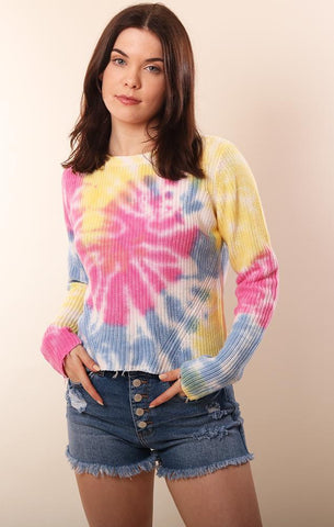 RAFFI LONG SLEEVE CREW NECK TIE DYE SWEATER SUMMER BEACH SALE AT MINT