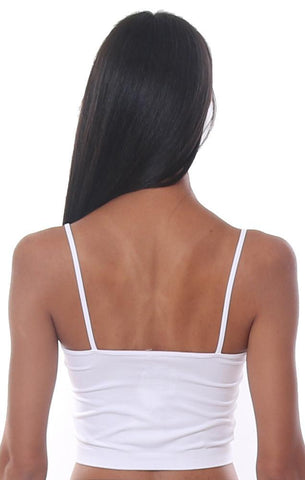 TOPS WHITE SEAMLESS SOFT CROPPED CAMI