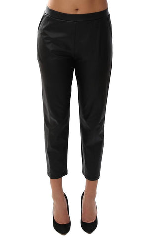 Clara Sunwoo Leggings Cropped Faux Leather Straight Leg Chic Office Pant