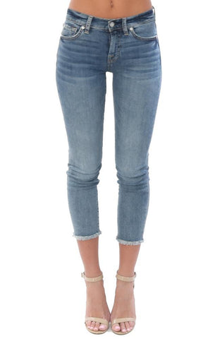 7 FOR ALL MANKIND DENIM ROXANNE ANKLE FRAY HEM SKINNY CROPPED JEANS