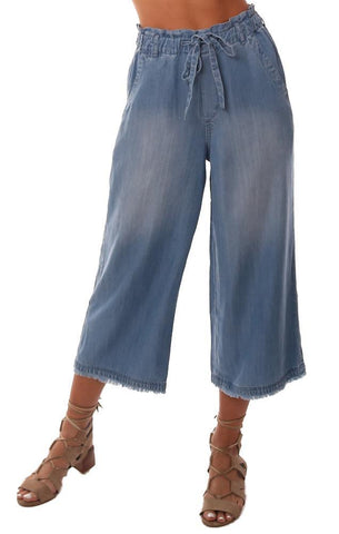 BELLA DAHL PANTS FRAYED CROPPED WIDE LEG FRAYED HEM SOFT LIGHT WASH PANT