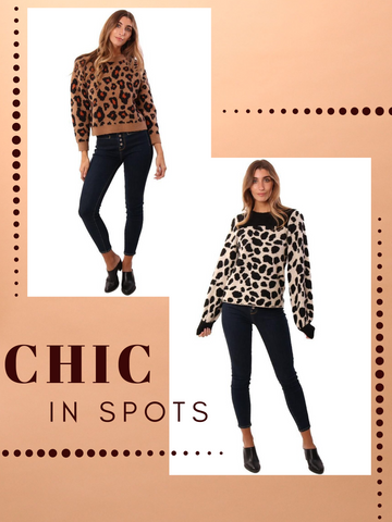 ASTR SWEATERS CREW NECK LONG SLEEVE LEOPARD PRINT KNIT PULLOVER SWEATER