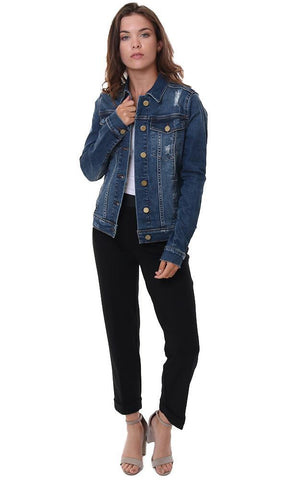 ARTICLES OF SOCIETY JACKETS LONG SLEEVE BUTTON UP BLUE DENIM JEAN JACKET