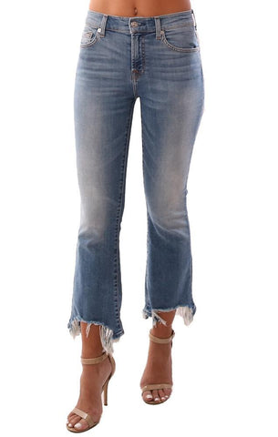 7 FOR ALL MANKIND DENIM ANKLE DESTROYED HEM SKINNY BLUE JEANS