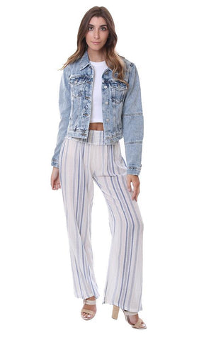 FREE PEOPLE JACKETS BLUE DENIM WASHED BUTTON UP JACKET