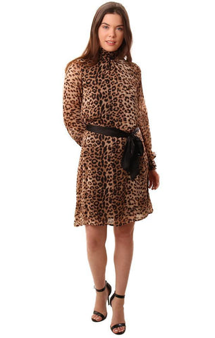 DRESSES HIGH NECK DRESSY ANIMAL PRINT BLACK BROWN MINI DRESS