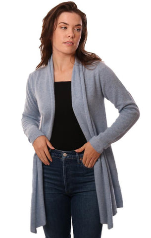 IN CASHMERE CARDIGANS LONG SLEEVE OPEN FRONT SOFT BLUE CASHMERE CARDI