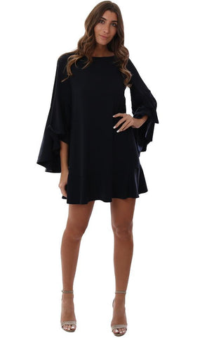SUSANA MONACO DRESSES WIDE RUFFLE SLEEVE FLOWY NAVY MINI PARTY DRESS