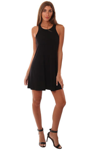 VERONICA M DRESSES RACERBACK FLOWY BLACK MINI TANK DRESS