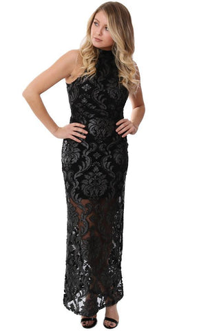Veronica M Dresses Halter Sleeveless Black Lace embroidered dressy Holiday Maxi Dress