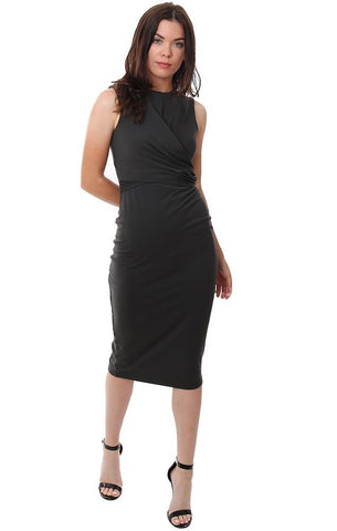 SUSANA MONACO DRESSES SLEEVELESS TWIST FRONT CROSSOVER MIDI GREY FITTED DRESS