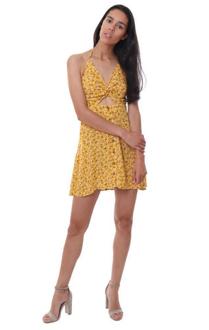 SKYLAR & MADISON DRESSES FLORAL YELLOW HALTER TIED BACK MINI DRESS