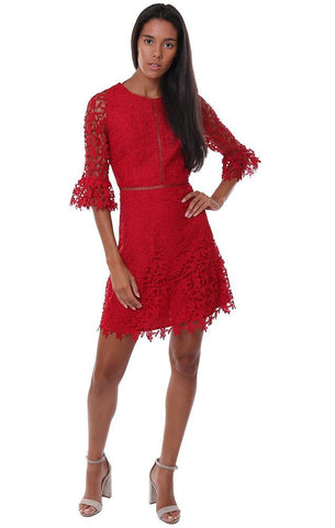 BB DAKOTA DRESSES LACE DETAIL 3/4 BELL SLEEVE RED PARTY MINI DRESS