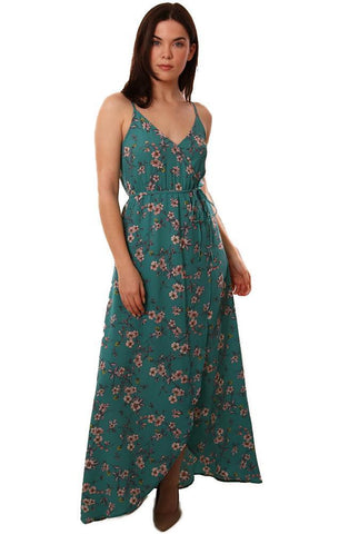 BB DAKOTA DRESSES V NECK BLUE FLORAL PRINT FLOWY MAXI DRESS
