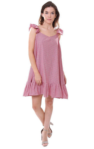sundress dresses pom pom ruffles gingham check dress