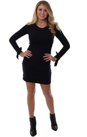 SUSANA MONACO DRESSES LONG SLEEVE BOW CUFF DETAIL FITTED NAVY CHIC MINI DRESS