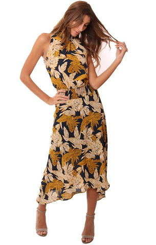 VERONICA M DRESSES SMOCKED NECK HIGH SLEEVELESS DROP WAIST FLORAL PRINTED MAXI DRESS