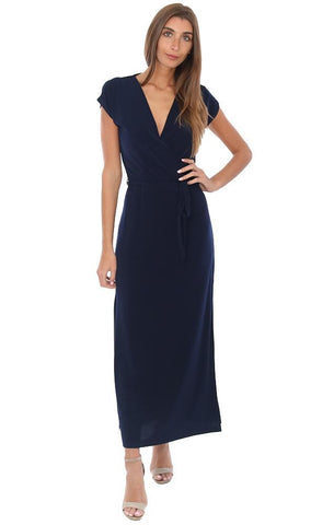 VERONICA M DRESSES SHORT SLEEVE V NECK TIE WAIST NAVY MAXI DRESS
