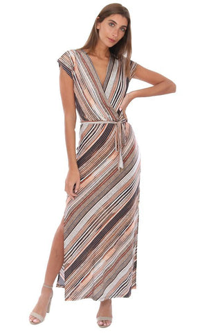 VERONICA M DRESSES SHORT SLEEVE V NECK TIE WAIST STRIPED MAXI DRESS