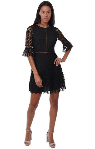 BB DAKOTA DRESSES LACE DETAILS SHORT SLEEVE BLACK MINI PARTY DRESS
