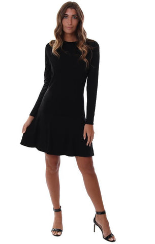 VERONICA M DRESSES LONG SLEEVE FIT TO FLARE FLOWY FLOUNCE SKIRT BLACK MINI DRESS