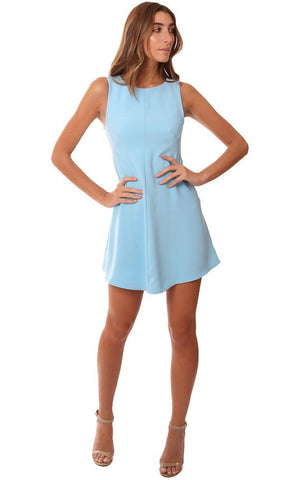 AMANDA UPRICHARD DRESSES SLEEVELESS CREW NECK LIGHT BLUE SHIFT MINI DRESS