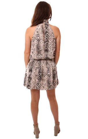 DO & BE DRESSES HALTER NECK DROP WAIST SNAKESKIN PRINTED BLACK WHITE SILKY MINI DRESS