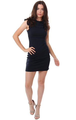 SUSANA MONACO DRESSES SLEEVELESS RUFFLE NECK NAVY FITTED MINI DRESS