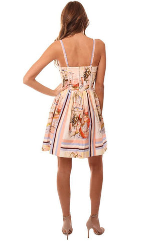 AMANDA UPRICHARD DRESSES PLEATED VENETIAN PRINTED MINI DRESS