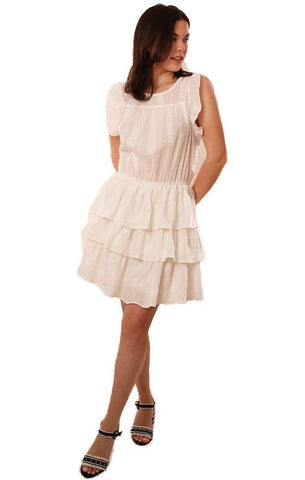 DRESSES SCOOP NECK SLEEVELESS LAYERED RUFFLE WHITE MINI DRESS FATE