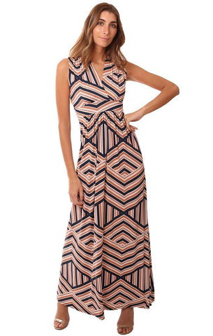 VERONICA M DRESSES SLEEVELESS V NECK GEOMETRIC PRINTED MAXI DRESS