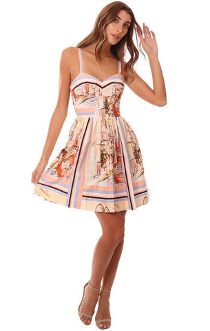Amanda Uprichard Dresses Printed Sweetheart Neckline Mini Dress