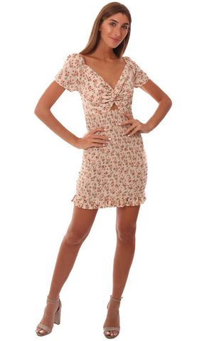 STORIA DRESSES SMOCKED TWIST FRONT SHORT SLEEVE FLORAL PRINTED MINI TUBE DRESS