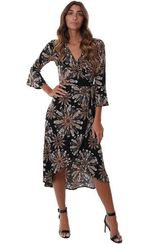VERONICA M DRESSES V NECK FLARED SLEEVE FEATHER PRINTED WRAP BLACK / BROWN MAXI DRESS