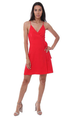 SKYLAR & MADISON DRESSES DOUBLE TIE FRONT RED MINI DRESS