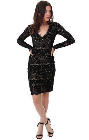 Amanda Uprichard Dresses Plunging V Neck Long Sleeve Black Lace Dressy Sexy Holiday Mini Dress