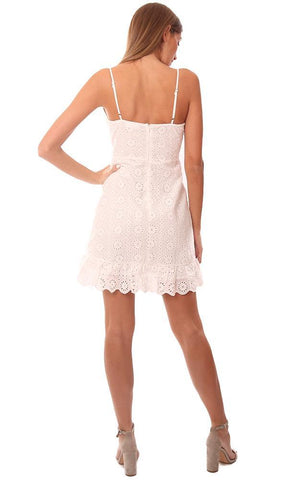 STORIA DRESSES EYELET LACE RUFFLE TIE FRONT WHITE MINI DRESS