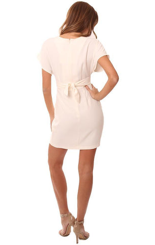 AMANDA UPRICHARD DRESSES SHORT SLEEVE EMPIRE WAIST PLEATED V NECKLINE IVORY MINI DRESS