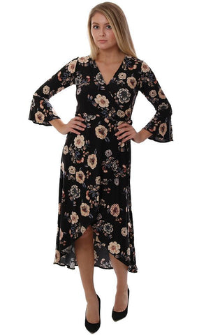 VERONICA M DRESSES V NECK BELL SLEEVE FLORAL PRINT BLACK FLOWY WRAP MIDI DRESS