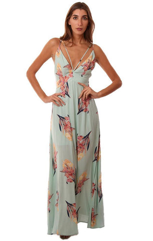 DRESSES V NECK FLORAL PRINTED FLOWY PASTEL MAXI DRESS