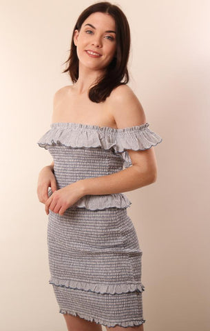 STORIA DRESSES STRIPED OFF THE SHOULDERS BLUE WHITE MINI DRESS