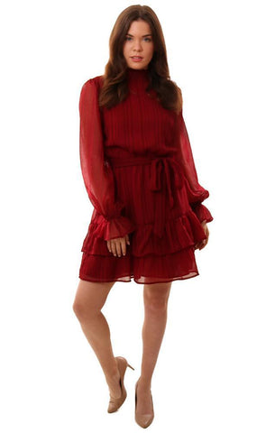 DRESSES LONG SLEEVE TIE WAIST LAYERED RUFFLE BURGUNDY MINI HOLIDAY DRESS