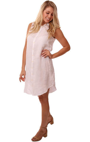 CP SHADES DRESSES SLEEVELESS BUTTON UP WHITE LINEN SHIRT DRESS