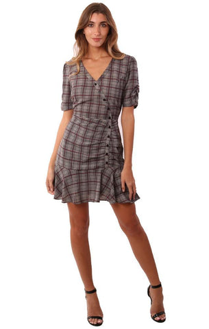 HEARTLOOM DRESSES POUF SLEEVE BUTTON FRONT RUFFLE HEM PLAID MINI DRESS