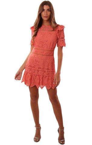 SAYLOR DRESSES OPEN BACK RUFFLE DETAIL LACE CORAL MINI DRESS