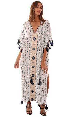 SKEMO COVERUPS V NECK TASSEL TRIM PRINTED MAXI BEACH KAFTAN