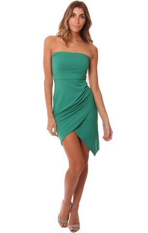 SUSANA MONACO DRESSES STRAPLESS ASYMMETRICAL HEM FITTED GREEN MINI DRESS