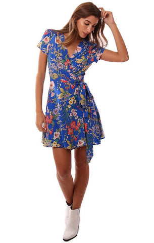 YUMI KIM DRESSES SHORT SLEEVE V NECK BLUE FLORAL PRINTED SILK WRAP MINI DRESS